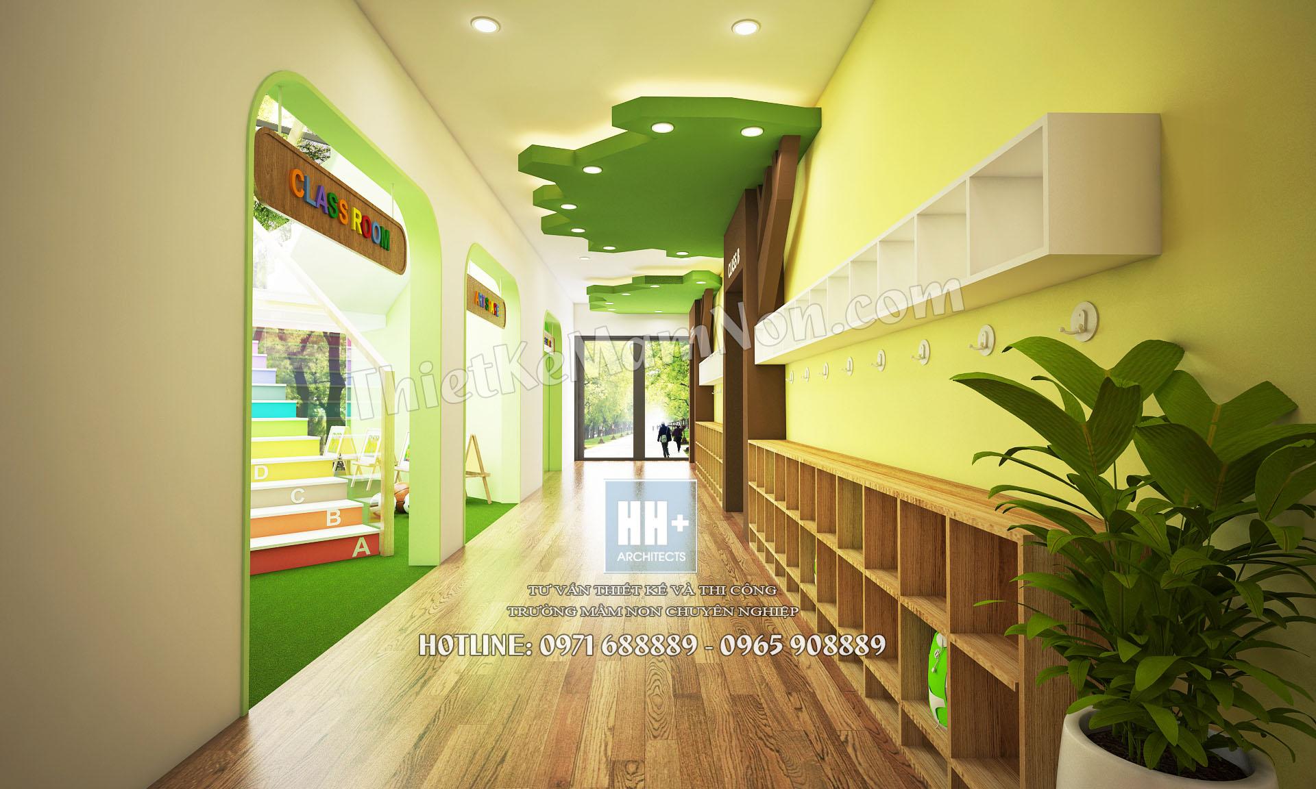 07 hanh lang Thiết kế trường mầm non montessori Thiết kế trường mầm non montessori Hoa Thủy Tinh 07 hanh lang